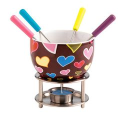 Fondue Set Brown Hearts, 12,90€, now featured on Fab.