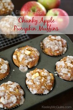 Keeley McGuire: Fall Baking: Chunky Apple Pumpkin Muffins {Gluten Free & Top 8 Allergen Free} Use Reid friendly options. No xanthum gum. Apple Recipes, Pumpkin Recipes, Fall Recipes, Muffin Recipes, Bread Recipes, Yummy Recipes, Dessert Recipes, Gluten Free Sweets, Gluten Free Baking