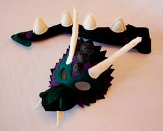 Limited Edition Bernie the Black Dragon Mask and by HuntingFaeries, $42.00