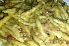 Ricetta Trofie con crema di carciofi e speck - Manjoo Rice Pasta, Arancini, Italian Cooking, Rice Dishes, Food Illustrations, Ravioli, Gnocchi, Good Food, Food And Drink