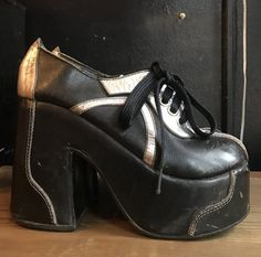 70s GLAM silver and black Bowie era leather PLATFORMS shoes
