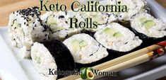 Low Carb California Rolls can be made inside out as shown above or with the Nori side out.  One of the best things about these low carb sushi rolls is that they taste great as leftovers unlike rolls made with actual rice. Low Carb Sushi, Low Carb Keto, Low Carb Recipes, Shrimp Sushi, Salmon And Shrimp, Sushi Sushi, California Roll Sushi, California Rolls, Sushi Roll Recipes