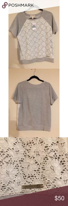 NWT Michael Kors top Brand new with tags Michael Kors white lace/gray top Michael Kors Tops