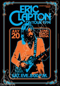 768-ERIC-CLAPTON-Long-Beach-Us-20-july-1974-artistic-concert-poster