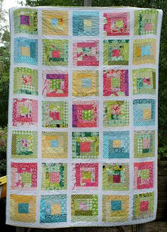 Sherbet Log Cabin Quilt by Cut To Pieces Cute Quilts, Scrappy Quilts, Easy Quilts, Mini Quilts, Log Cabin Quilt Pattern, Log Cabin Quilts, Log Cabins, Strip Quilts, Quilt Blocks