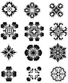 12 Decorative Radial Elements Silhouettes