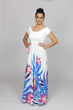 Absolutely love this look! Glam Dresses, Fashion Dresses, Wedding Dresses, Samoan Dress, Hawaiian Wear, Island Wear, Tropical Fashion, Bridal, Dress Patterns