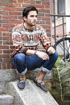 Bold Patterned Sweater, Cuffed Jeans, Loafers // Mr. Fashion: Keeping Warm Pt. II   Fonda LaShay // Design → more on fondalashay.com/blog
