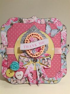 Handmade Thank You card made with the Papermania Bellissima collection.