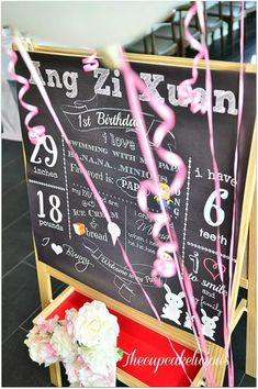 1st birthday chalk sing! All cute facts about the birthday child! Via KarasPartyIdeas.com