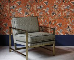 Uhura wallcovering in Chilli - LW64/2. Chair - Kitsune - LF1930C/5 - Midnight. Fantastical worlds are brought together in a beautiful selection of prints, weaves and wallpapers. http://www.linwoodfabric.com/product-category/fabrics/fable/
