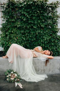 60faa049189 Beautiful boho wedding dress on the bride in this Winter s Sage Inspired  Styled Shoot featured on