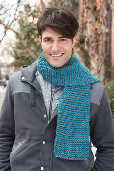 Knit in Stripes Scarf Free Knitting Pattern in Red Heart Yarns