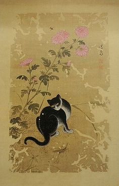 """Korean painting titled """"Chuil hanmyo"""" (Free cat on an autumn day) painted by en:Jeong Seon during the Korean Joseon Dynasty. Korean Painting, Chinese Painting, Chinese Art, The Rok, Asian Cat, Asian Artwork, Oriental Cat, Japanese Cat, Thinking Day"""