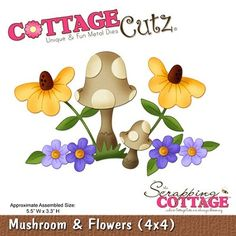 Cottage Cutz-Gnome Series-4x4 Die-Mushroom & Flowers Item Number: COT-4x4-334 Your Price: $19.95