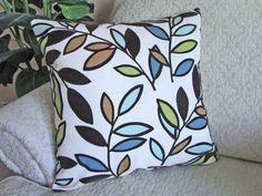 Blue Throw Pillow Cover Modern Leaf Pillow by asmushomeinteriors, $29.95