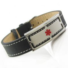 Medical #Bracelet with #Black Leather Steel ID Plate for #Price: $39.99 (€34.79)