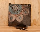 Leather Purse - the Poppy Garden Barrel Bag in Sage, Silver, Turquoise and antique black - Small. $269.00, via Etsy.