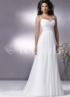 $308.99Chiffon Straps Sweep Train #Empire #Wedding Dress With Beading