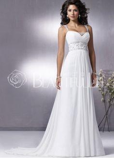 $308.99Chiffon Straps Sweep Train #Empire #Wedding Dress With Beading