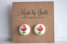 Secret Garden Fabric Covered Button Earrings - Buy 3, get 1 FREE by jewlswashere on Etsy