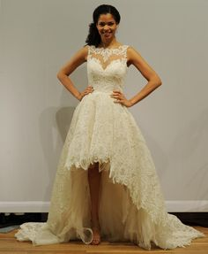 Justin Alexander illusion neckline, beaded lace wedding dress with high-low hemline
