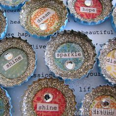 Beautiful way to upcycle bottle caps. Tutorial has you glue these into the middle of a silk flower- cute ether way!