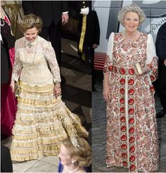 Queen Sonja in yellow and Queen Beatrix celebrate Queen Margrete 70 years in 2010