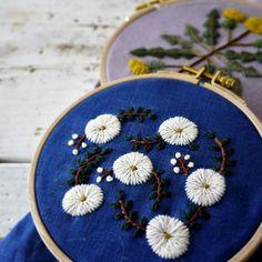 青いリネンに白い小花模様。