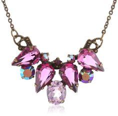 "Amazon.com: Sorrelli ""Pink Orchid"" Teardrop Cut Crystal Cluster Pendant Gold-Tone Pendant Necklace, 18.25"": Jewelry"