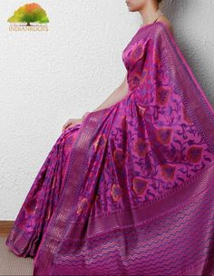 Pink Dupion Silk Saree with Zari Work by Banaras Weaves on Indianroots.com