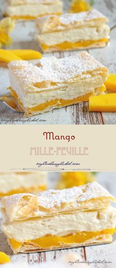 Mango Mille-Feuille (Mango Cremeschnitten), a fruity dessert with layers of puff pastry, mango puree and vanilla cream. Simply irresistible and quite easy to make.