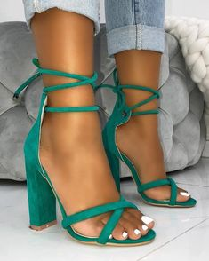 caf384017 Suede Crisscross Strappy Chunky Heeled Sandals