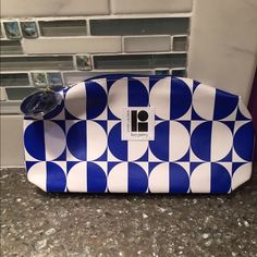 Estée Lauder Blue and White Zip up Makeup Bag By Lisa Perry...Brand New! I have some great prices on my makeup, feel free to throw out some offers and make a bundle! Estee Lauder Bags Cosmetic Bags & Cases