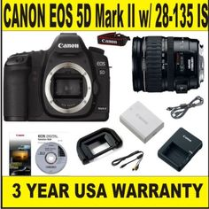 Canon EOS 5D MARK II 21.1 MP Body (Supplied Manufacturer Accessories) w/ Canon 28-135 IS Lens   3 Year Warranty