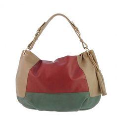 Bolso 1 asa estilo gondola piel tricolor - Paula Alonso | Tienda online