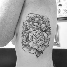 black Rose and peony floral rib tattoo illustration