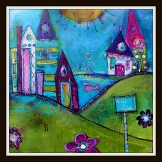 The Little Things  20x20 Whimsical Funky Village by the by JodiOhl,  The Little Things    new original in my shop today!