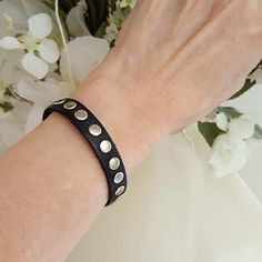 Beaded Leather Bracelet Stacking Leather Bracelet with silver studs and magnetic clasp. Very cool rocker or boho vibe. #leatherbracelets #blackleatherbracelet #braceletsforwomen