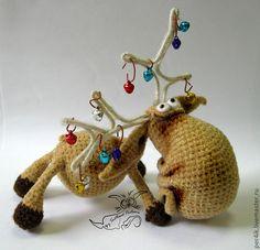 Купить Лосямба! Крутой новогодний зверь! - игрушка, бежевый, лось, лосяка, лосик, лосямба, рог