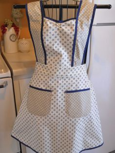 Old Fashioned 1940s Style Full Apron in Navy Blue and Yellow handmade