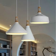 Wood and white pendant light