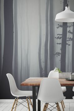 Love dining with a view? This ethereal wallpaper design captures a wonderful yet mysterious forest scene. It's enchanting yet mystifying in equal measure, creating a sense of excitement and is everything you want from a life sized mural. Pair with rustic yet modern furnishings for a contemporary style.