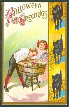 Vintage Embossed Florence Bamberger Halloween Postcard Kids Bobbing For Apples  #Halloween