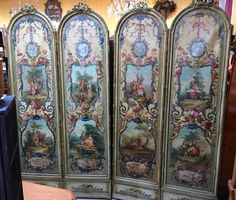 Antique French 4-Panel Neoclassical Oil-On-Canvas Screen/Room Divider   1800s #NeoClassical