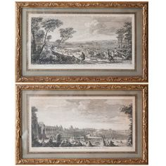 1stdibs.com | A Pair Of 18th Century Copper Plate Engravings With Scenes Of Fontainebleau