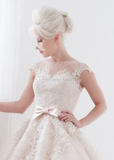 2015 Blush Satin with champagne Tulle Lace Overlay Wedding Dresses Applique Illusion Cap Short Sleeve Tea Length Garden Beach Bridal Gowns