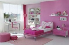 Girls Bedroom Decor Ideas With Creative Pink Bedroom Decorating For Teenage Girl Bedroom Designs, Pink Bedroom Design, Pink Bedroom For Girls, Girls Room Design, Pink Bedroom Decor, Pink Bedrooms, Teenage Girl Bedrooms, Pink Room, Little Girl Rooms