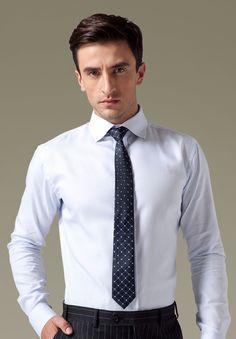 Bespoke Light Blue Dress Shirts For Men,$59