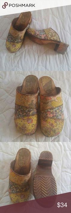 Clogs Patchwork paisley vintage clogs with a chunky wooden sole. HOST PICK! Sanitas Shoes Mules & Clogs